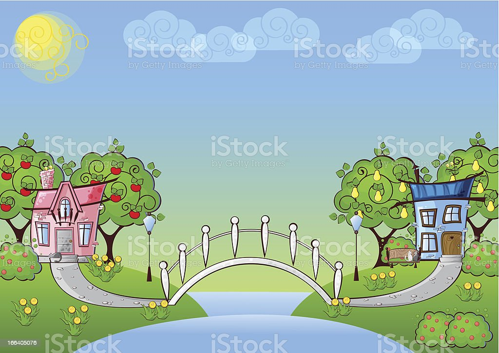 background cartoon house vector art illustration