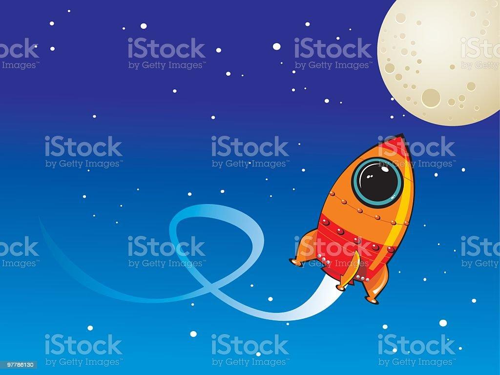 background cohete a la luna royalty-free stock vector art