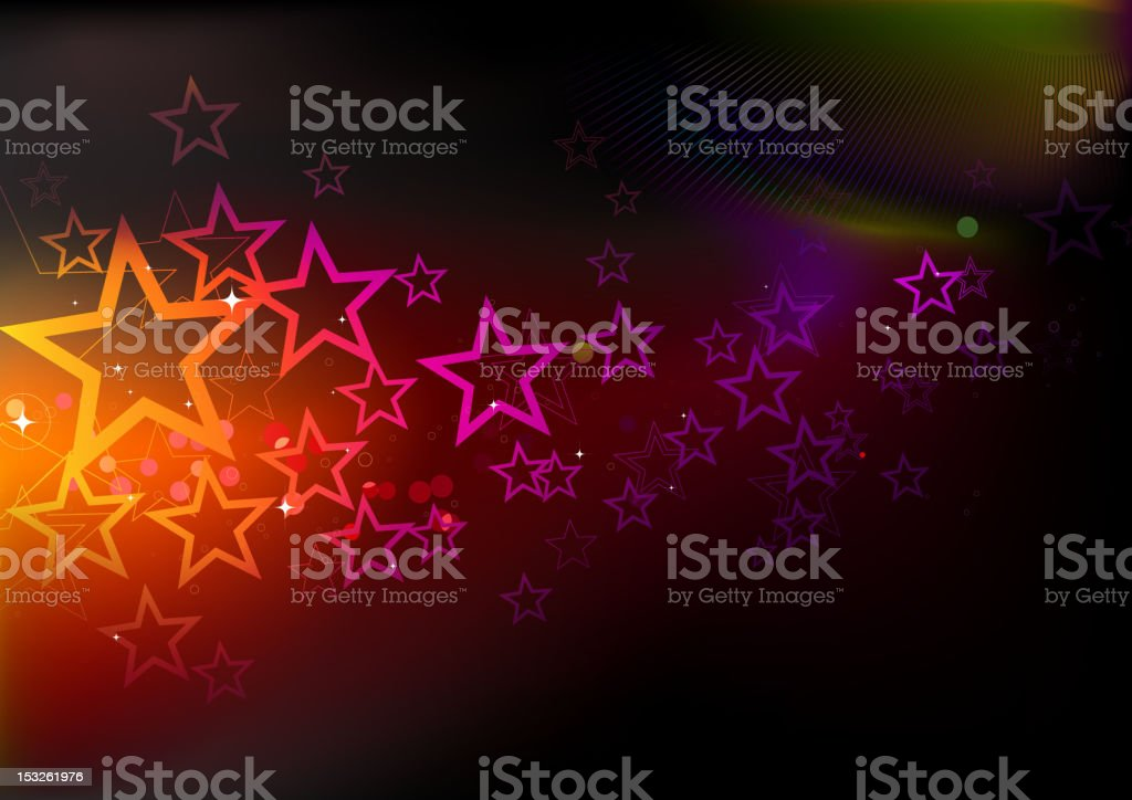 A background covered in different colored stars royalty-free stock vector art