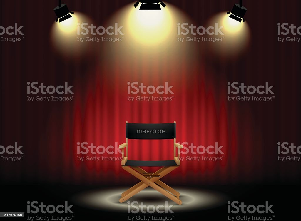 background curtain and director's chair with spotlight vector art illustration