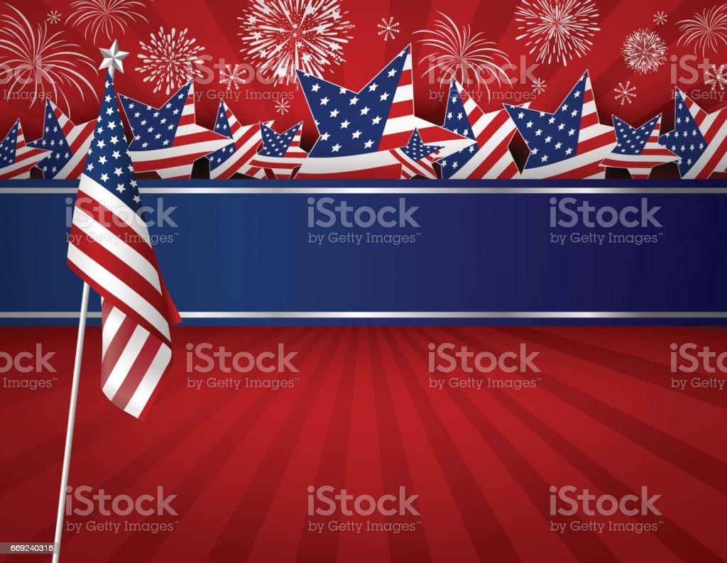 USA background design of American flag for 4 july independence day or other celebration vector art illustration