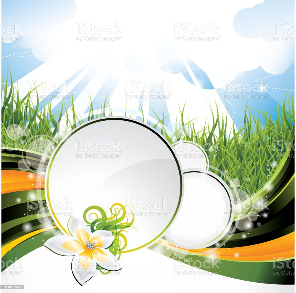 Background design on a spring and nature theme with flower. vector art illustration