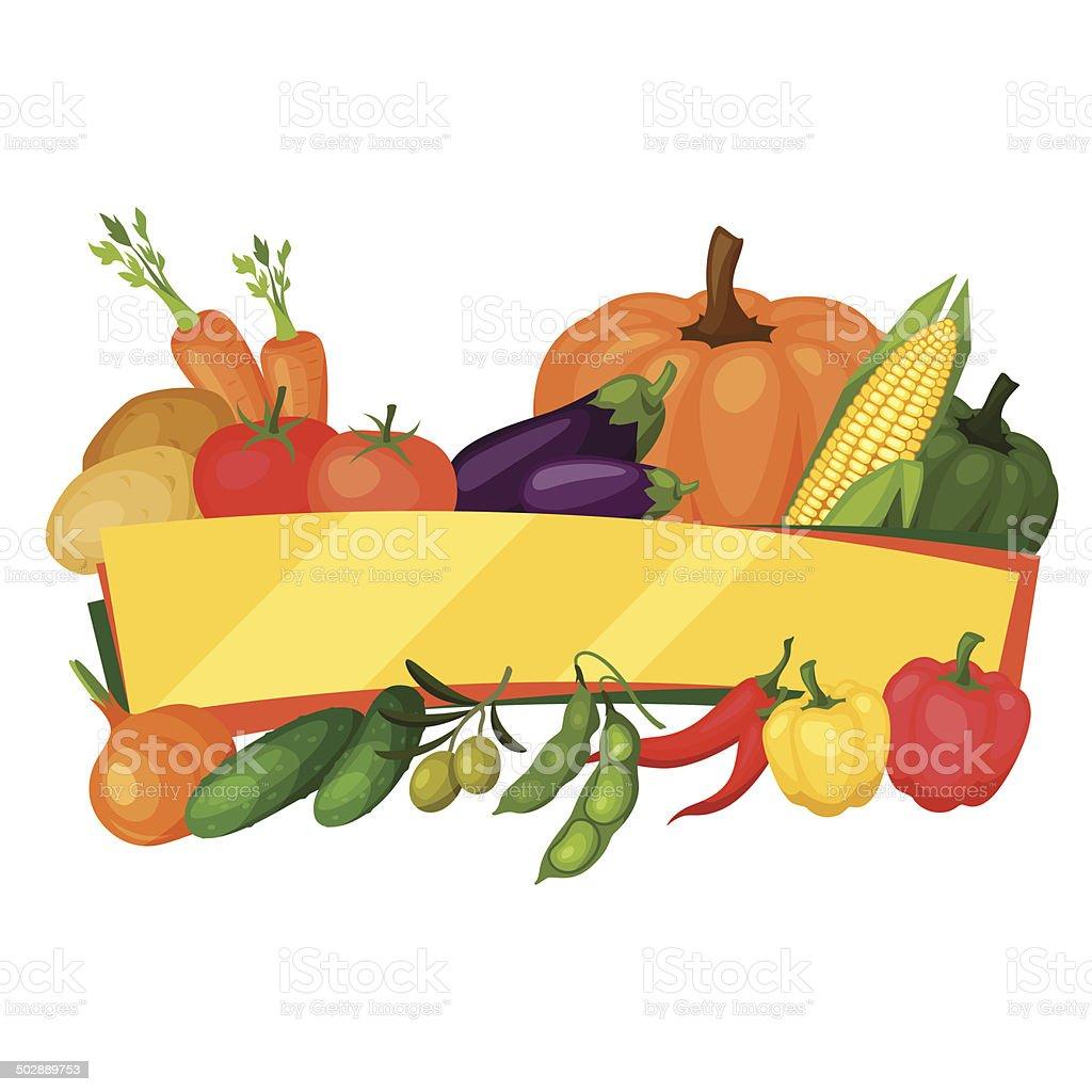 Background design with fresh ripe stylized vegetables. vector art illustration