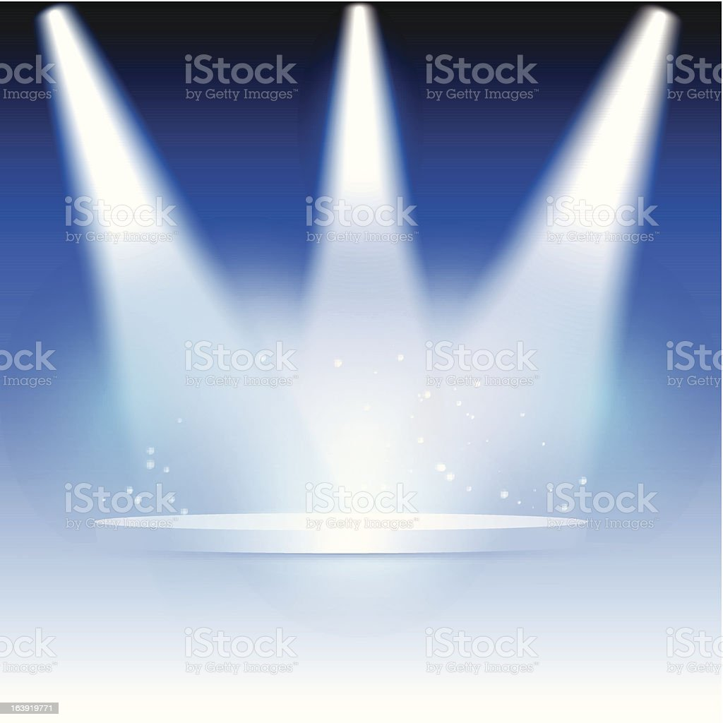 Background featuring a circular stage with three spotlights vector art illustration
