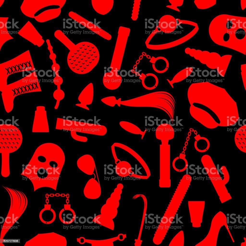 BDSM background. Fetish icons seamless pattern. ornament for lov vector art illustration