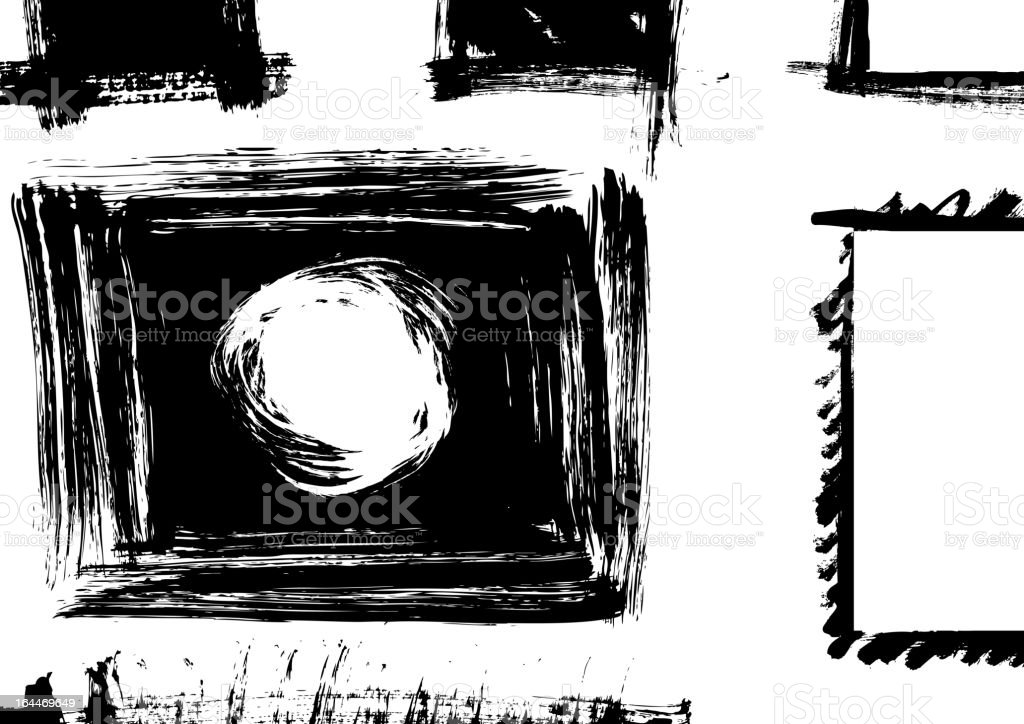Background filled with hand drawn black frames vector art illustration