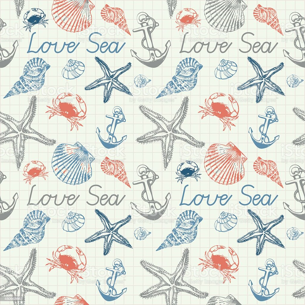 Background filled with seashells, crabs and anchors vector art illustration