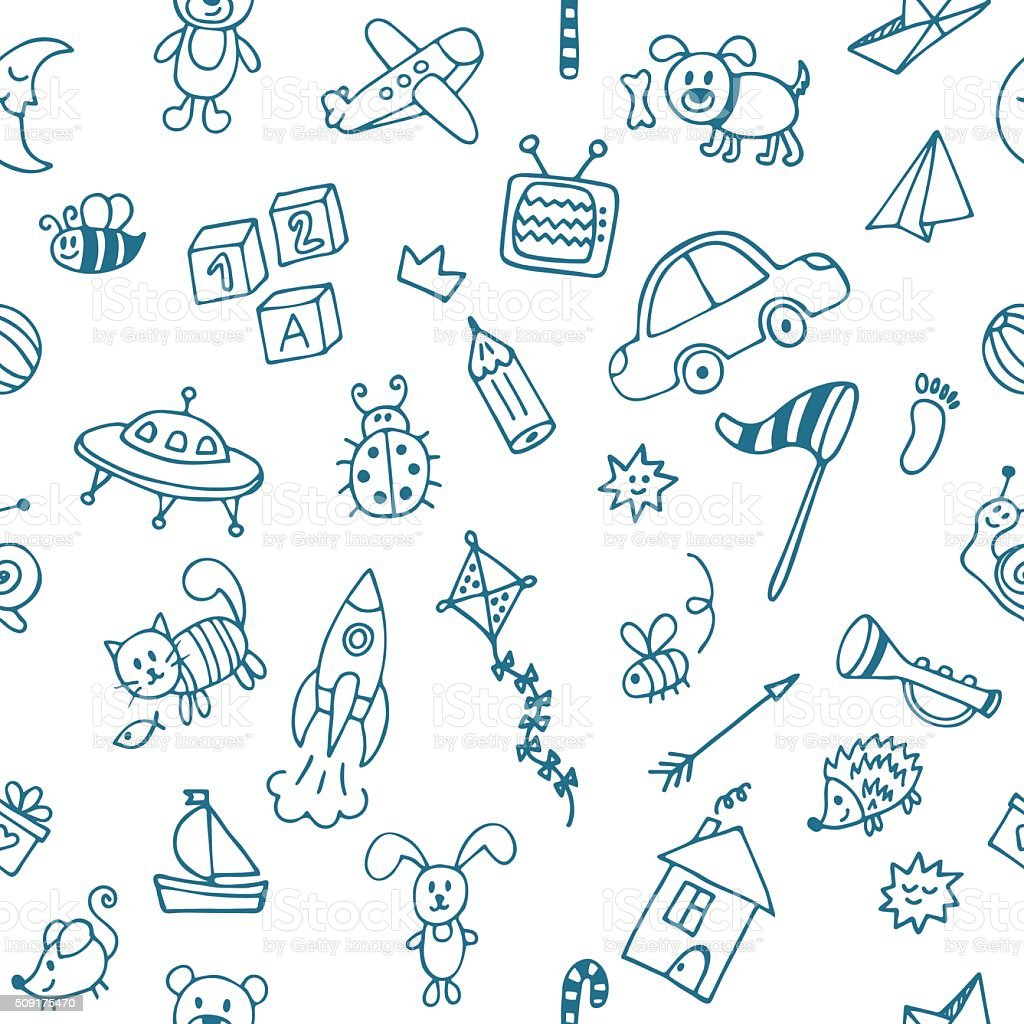 Background for little boys. Hand drawn children drawings vector art illustration