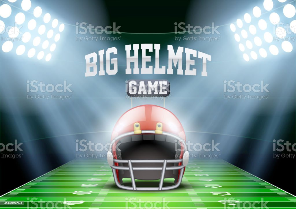 Background for posters night american football stadium in the spotlight vector art illustration