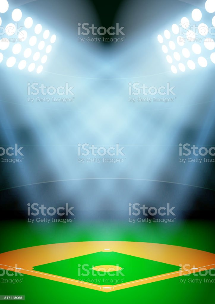 Background for posters night baseball stadium in the spotlight. Vector vector art illustration