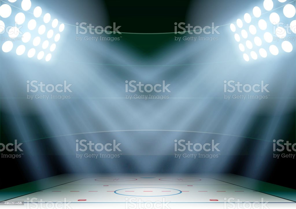 Background for posters night ice hockey stadium in the spotlight vector art illustration