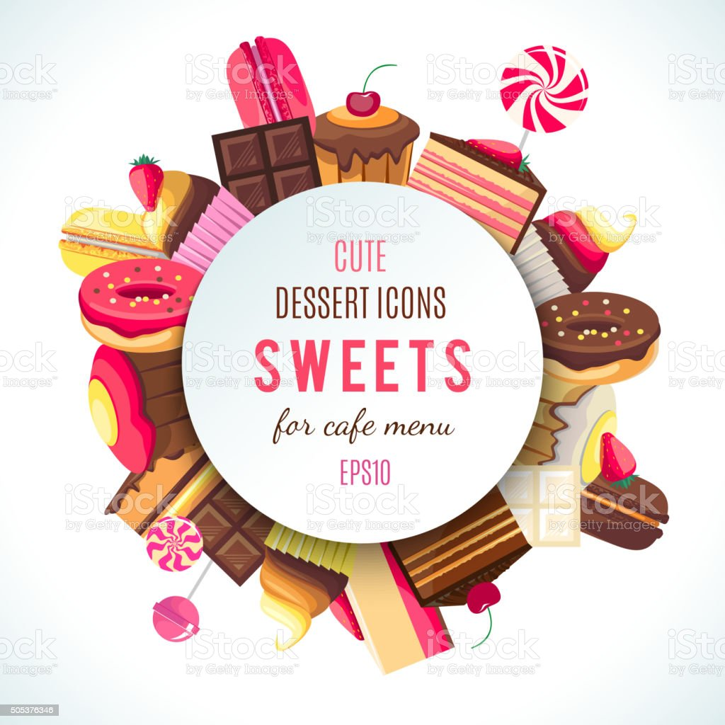 Background for sweets company logo vector art illustration