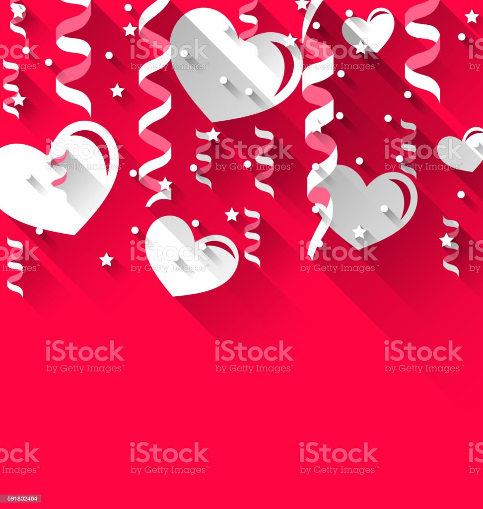 Background for Valentines Day with paper hearts, streamer, stars vector art illustration
