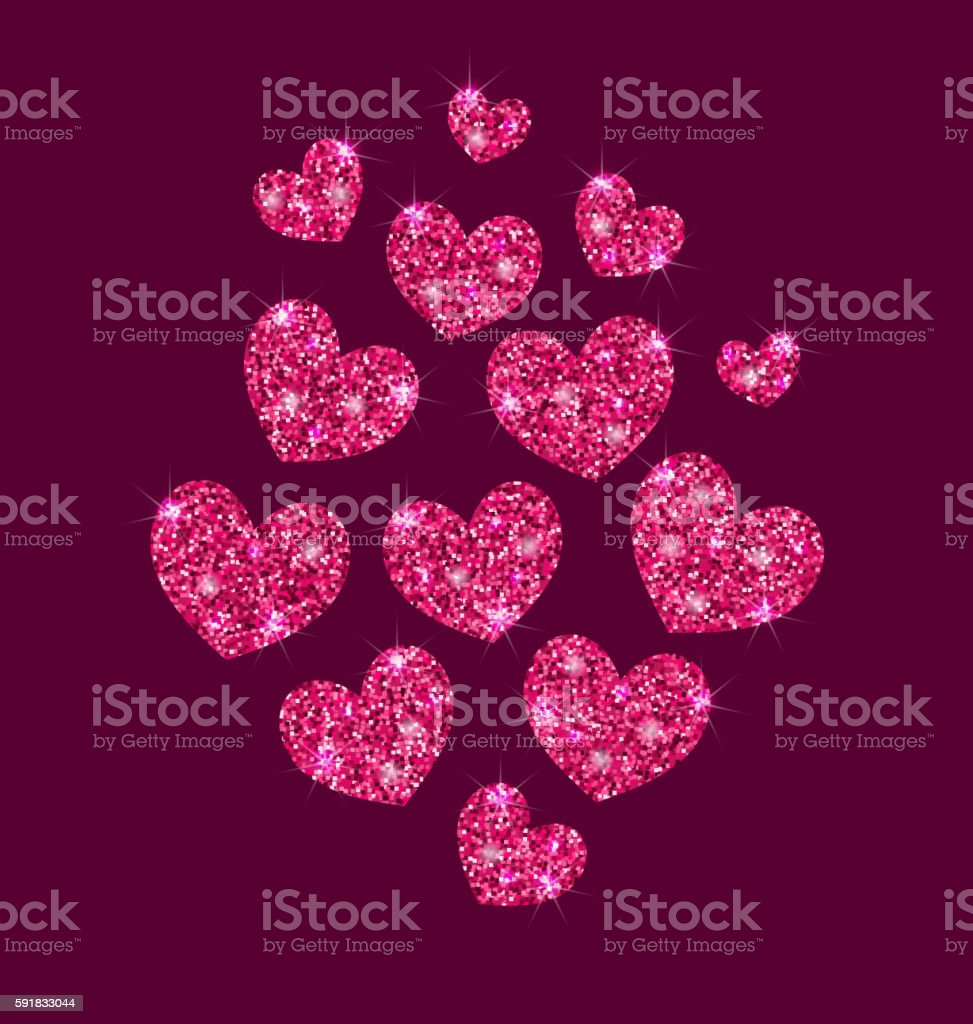 Background for Valentines Day with Shimmering Hearts vector art illustration