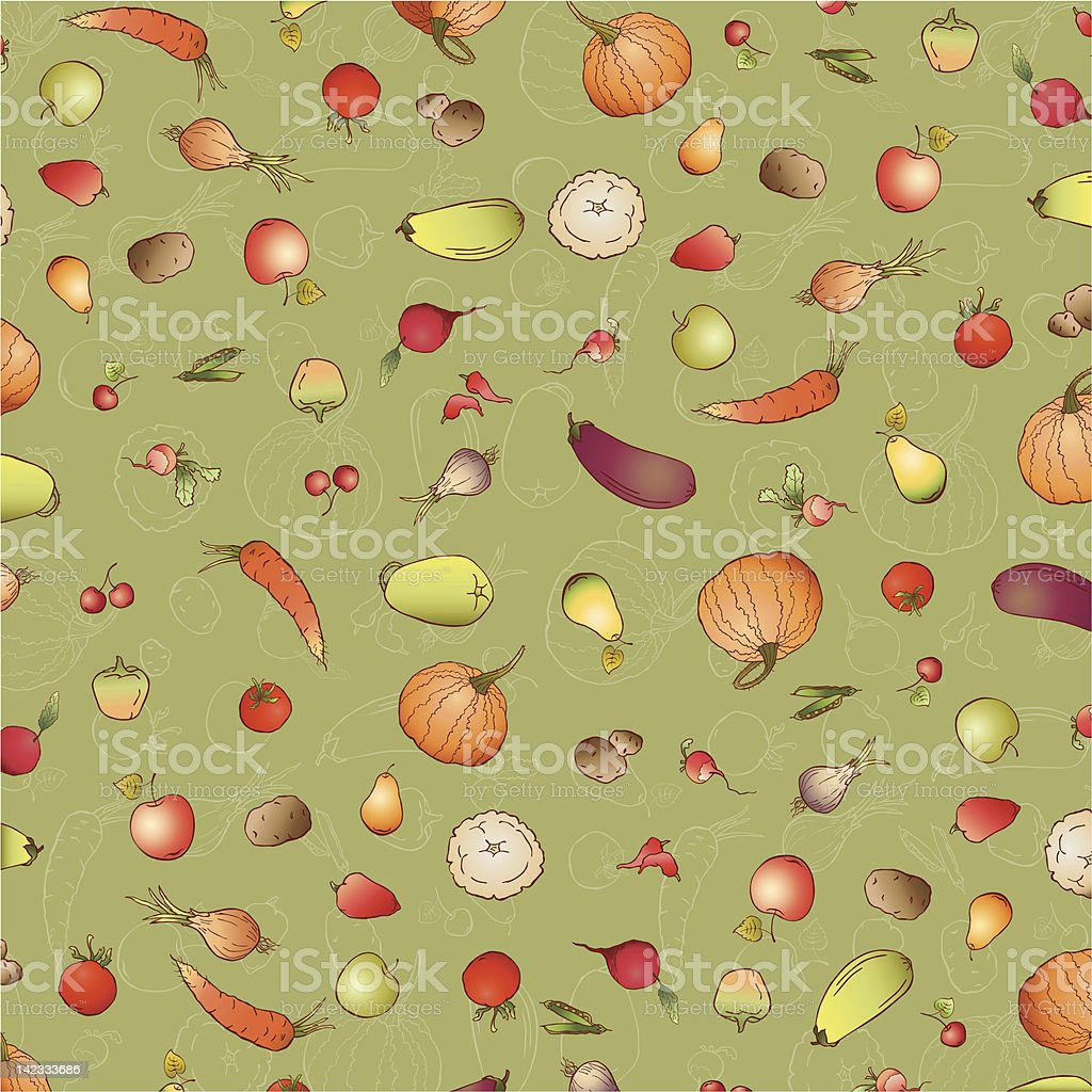 Background from fruit and vegetables vector art illustration