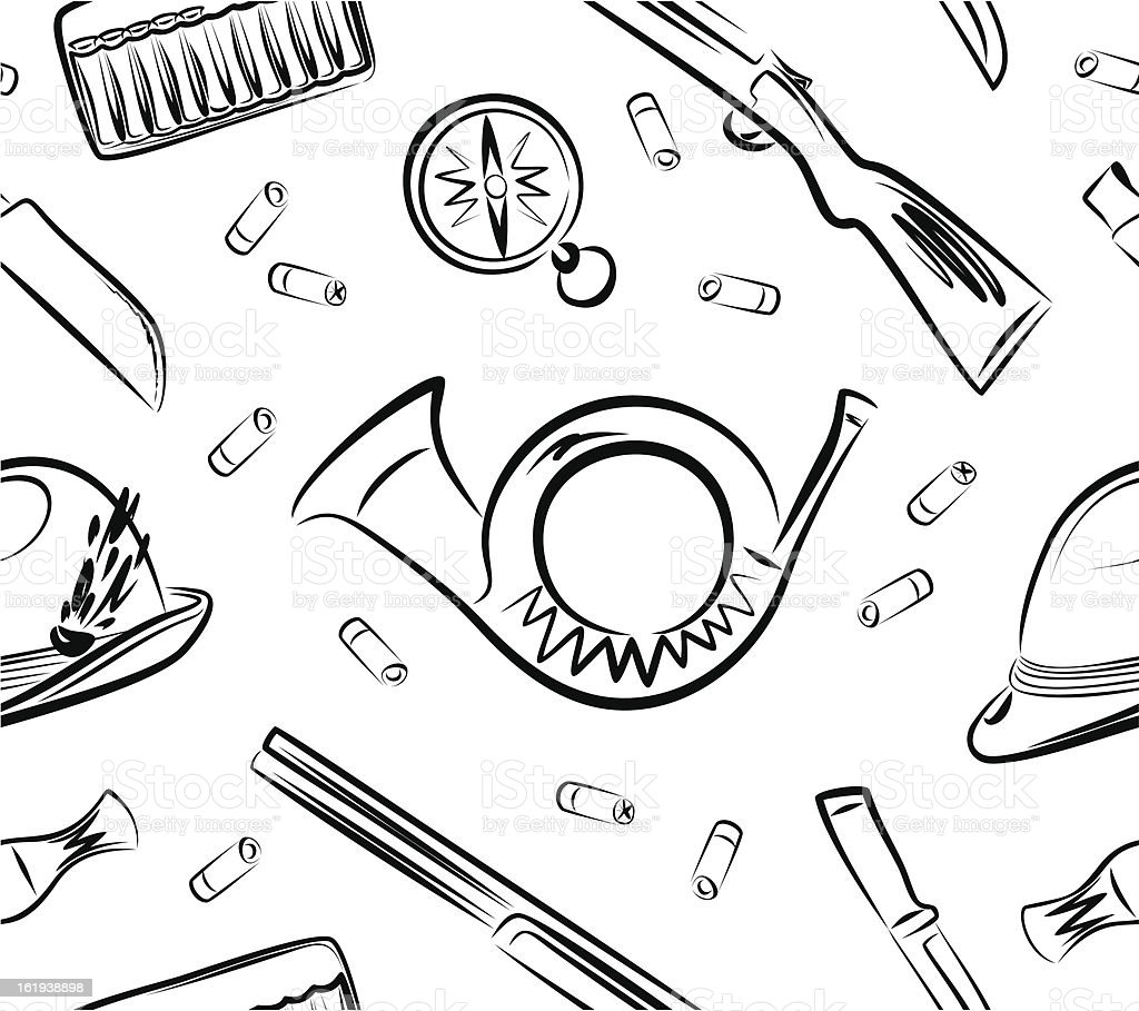 Background from hunter accessories vector art illustration