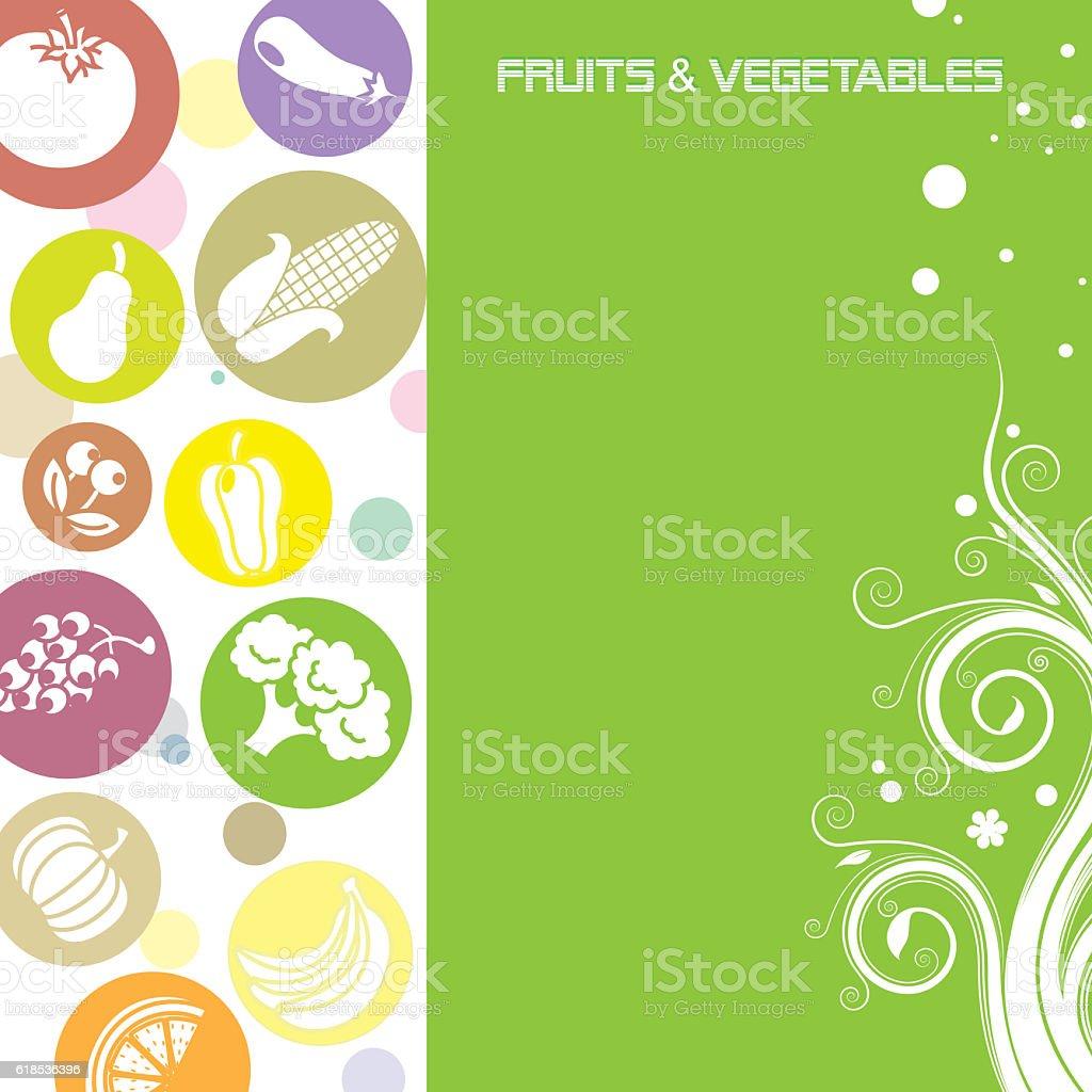 Background fruits and vegetables vector art illustration