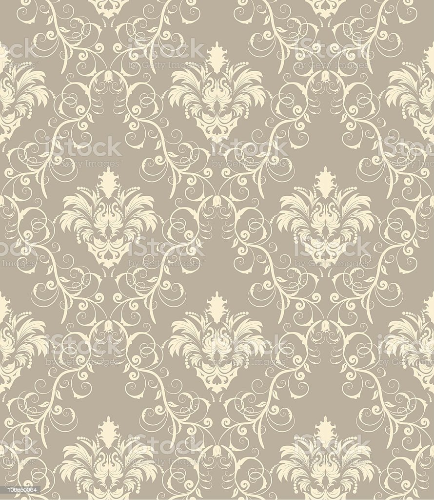 Background graphic of seamless grey damask pattern royalty-free stock vector art