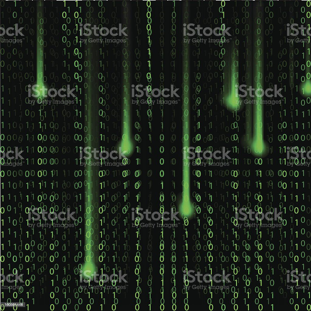 Background green and black binary code with streaks royalty-free stock vector art