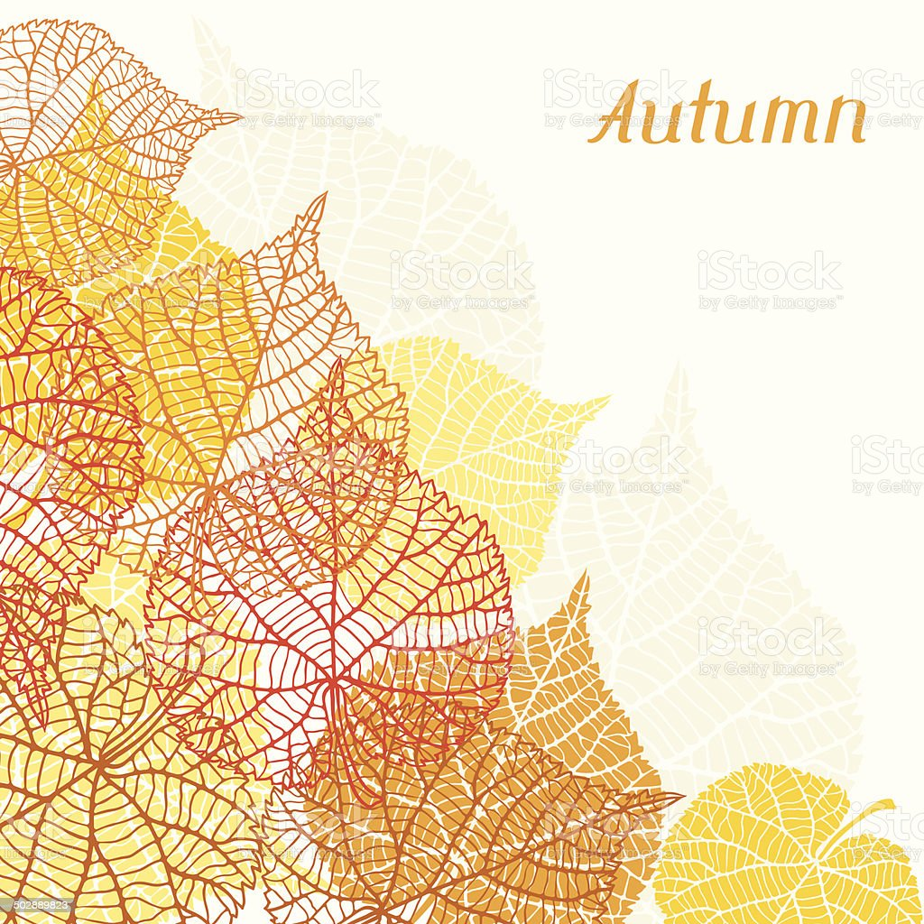 Background, greeting card with stylized autumn leaves. vector art illustration