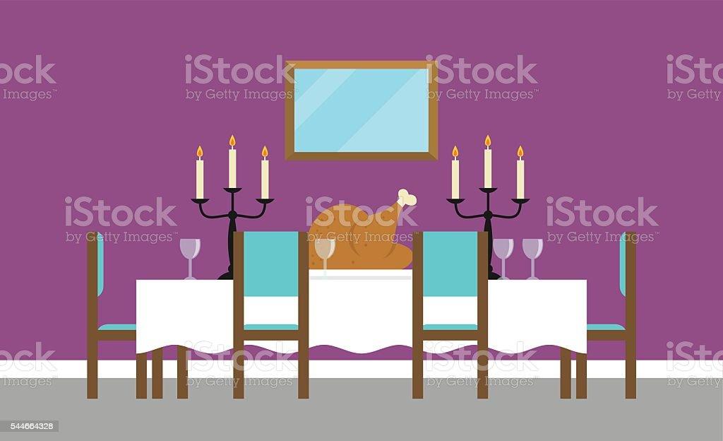 Background Illustration Of Empty Dining Room vector art illustration