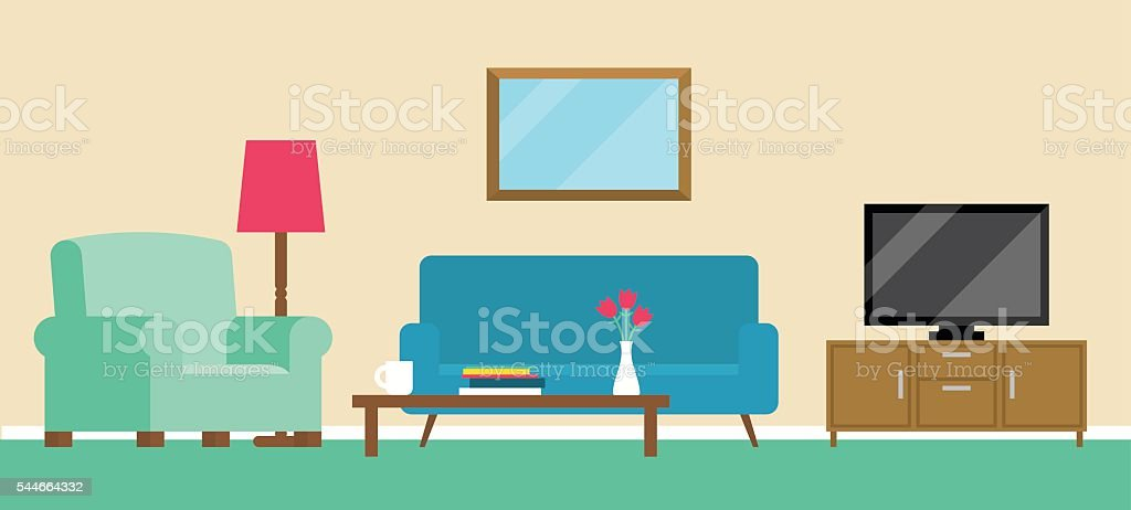 Background Illustration Of Living Room vector art illustration