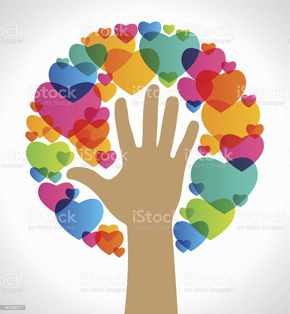 Background image of hand reaching into multicolored hearts vector art illustration