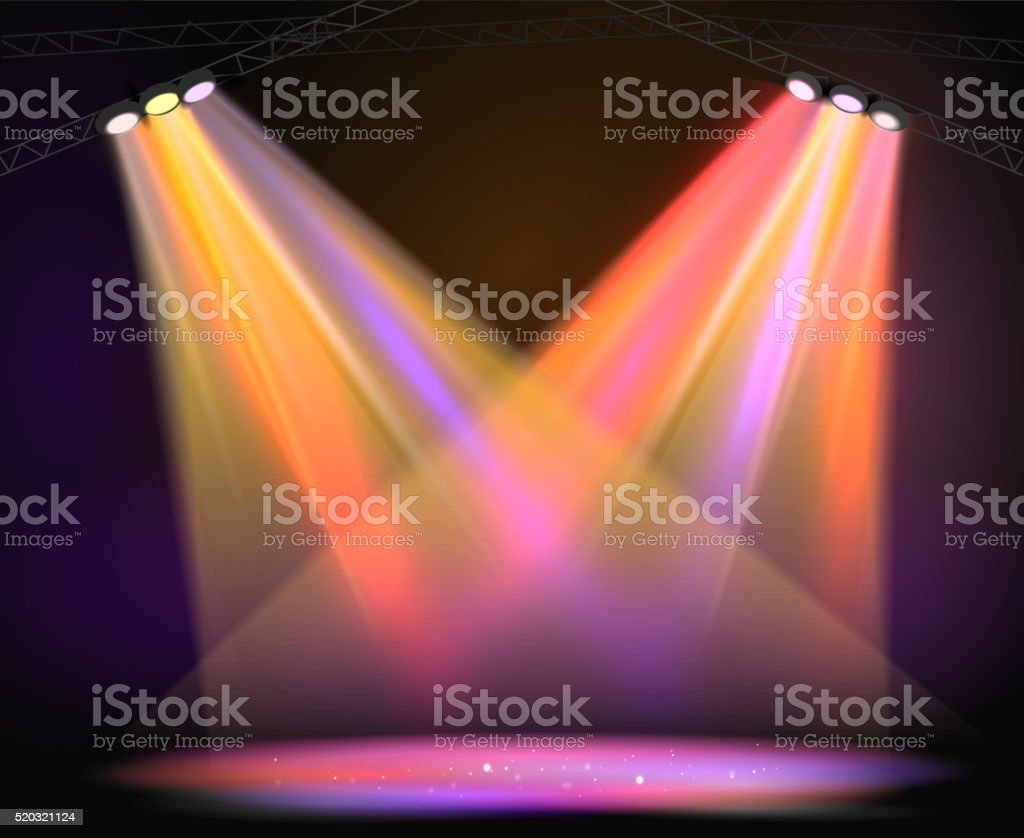Background image of spotlights with stage in color vector art illustration