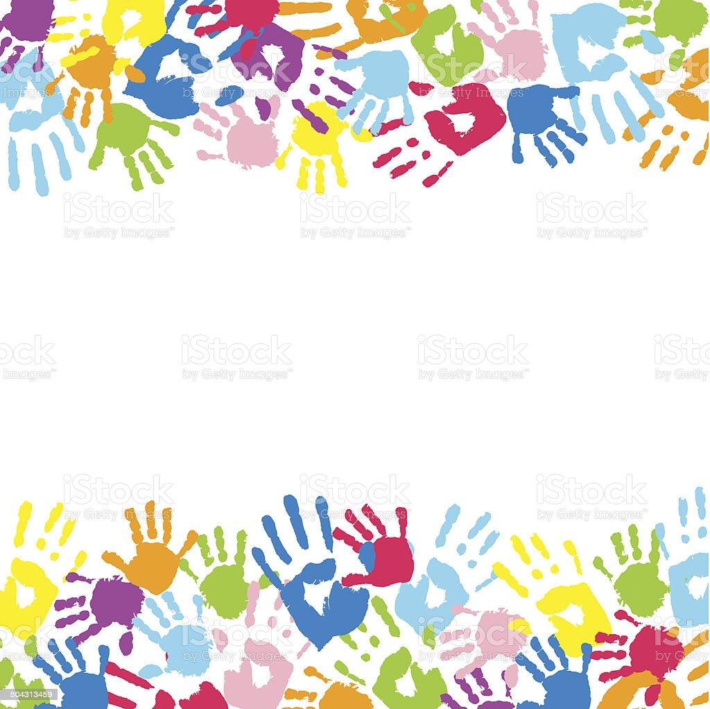 Background made from color handprints. vector art illustration