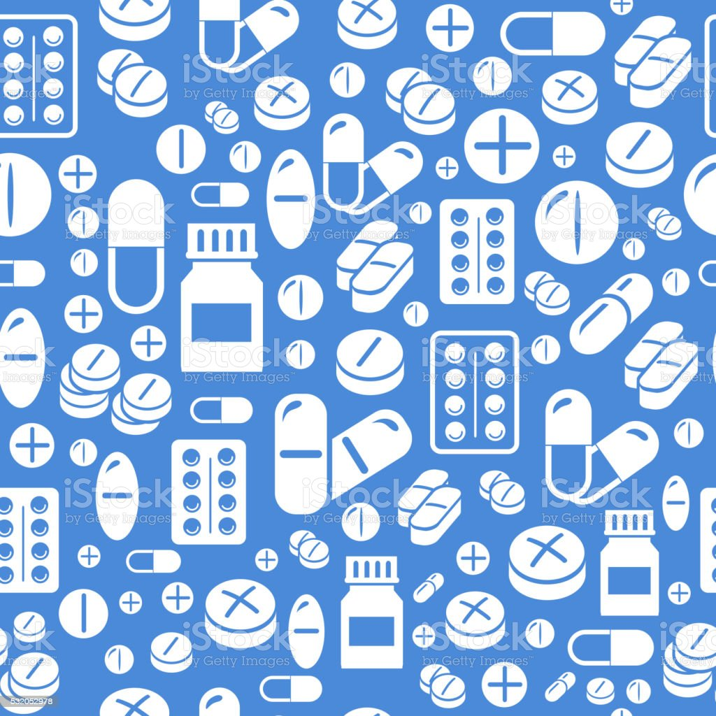 Background made from pills and capsules  seamless pattern. Vector Illustration vector art illustration