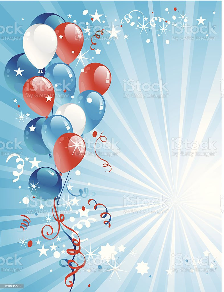 Background made of balloons and rays of sunlight  royalty-free stock vector art