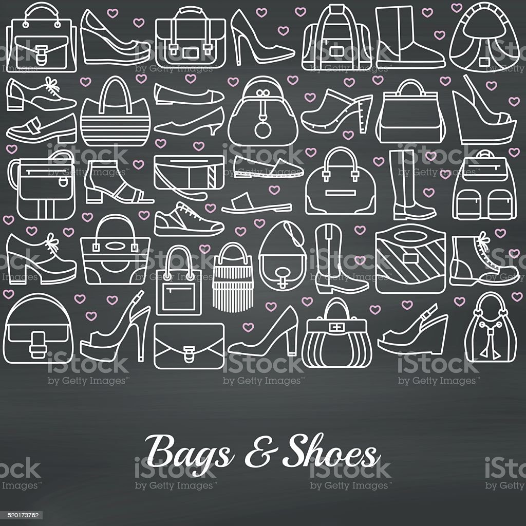 Background made of line icons. Bags and shoes vector art illustration