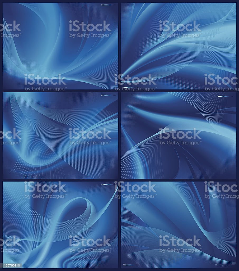 Background made up of six abstract images in blue vector art illustration