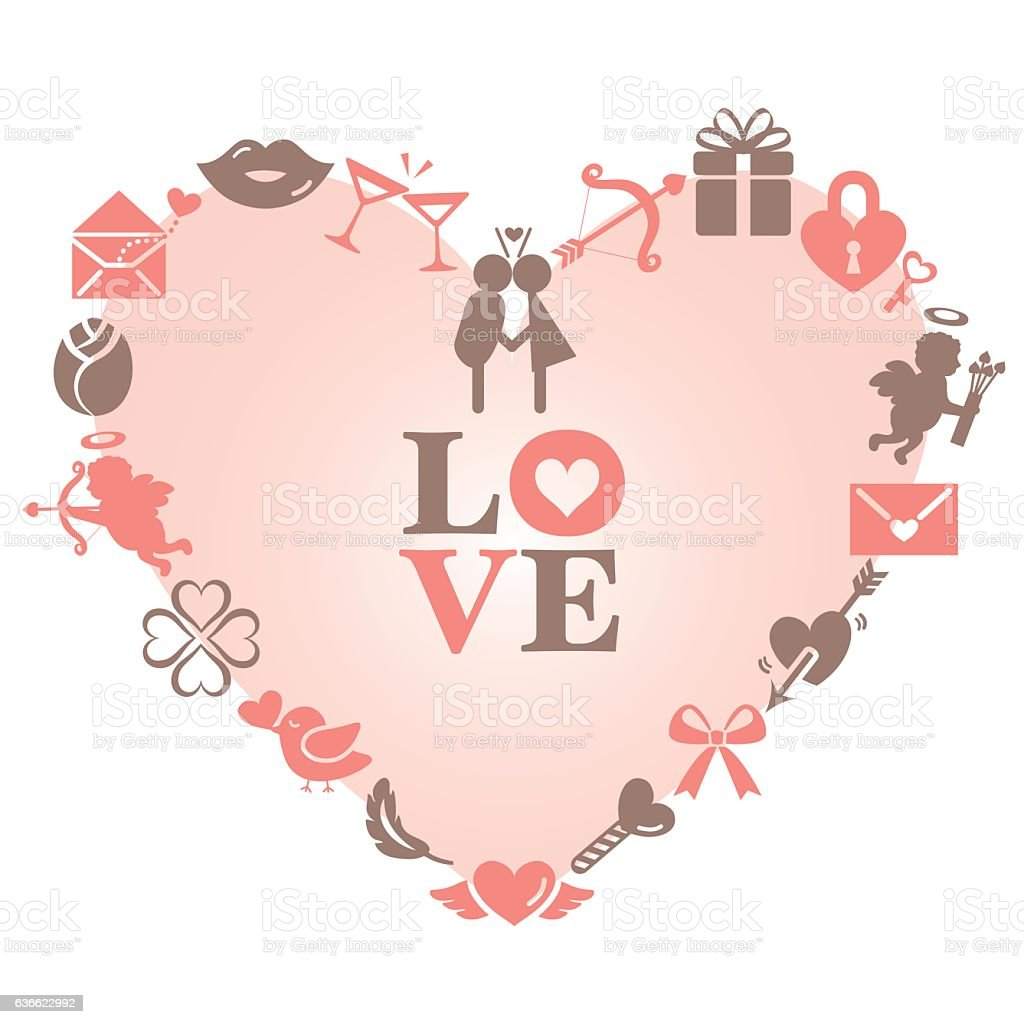 background material of the frame at the heart vector art illustration
