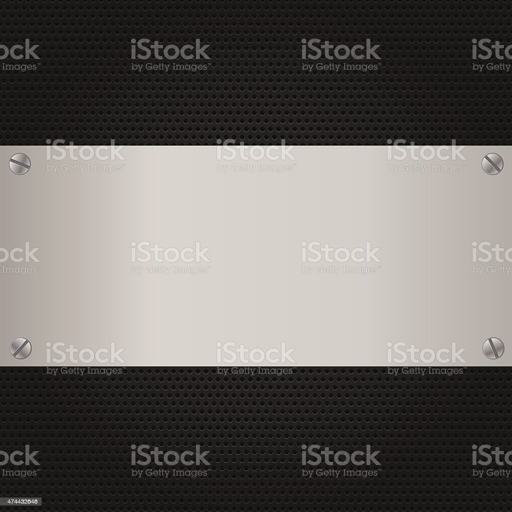 Background Metal texture plate with screws for internet sites vector art illustration