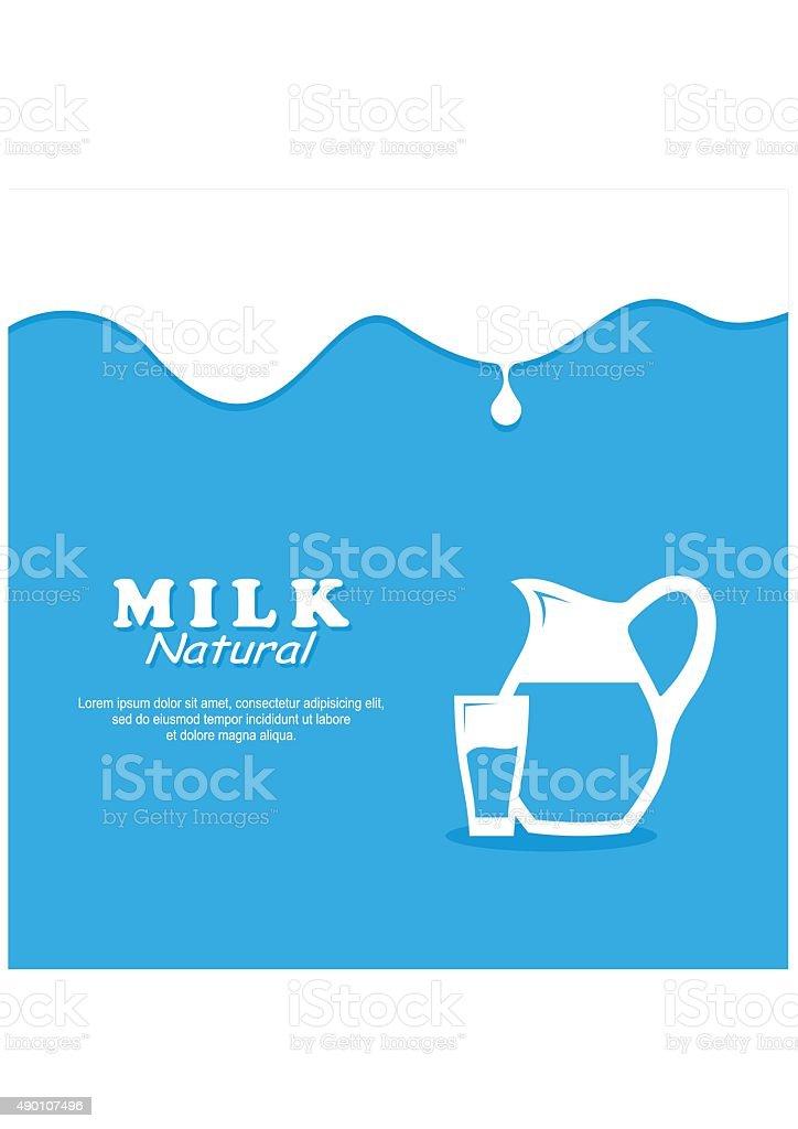 Background Milk. Glass milk and Pitcher. vector art illustration