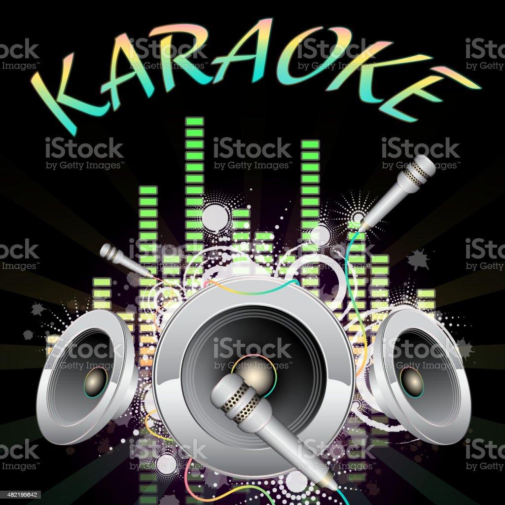 Background music, karaoke vector art illustration
