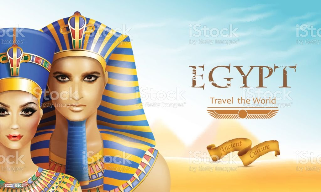 Background Nefertiti and Tutankhamen. vector art illustration