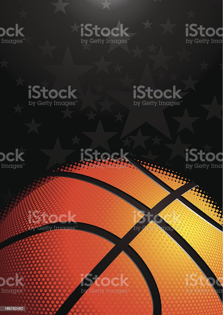 Background of a basketball against dark background royalty-free stock vector art