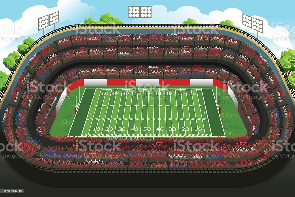 Background of an Empty American Football Stadium vector art illustration