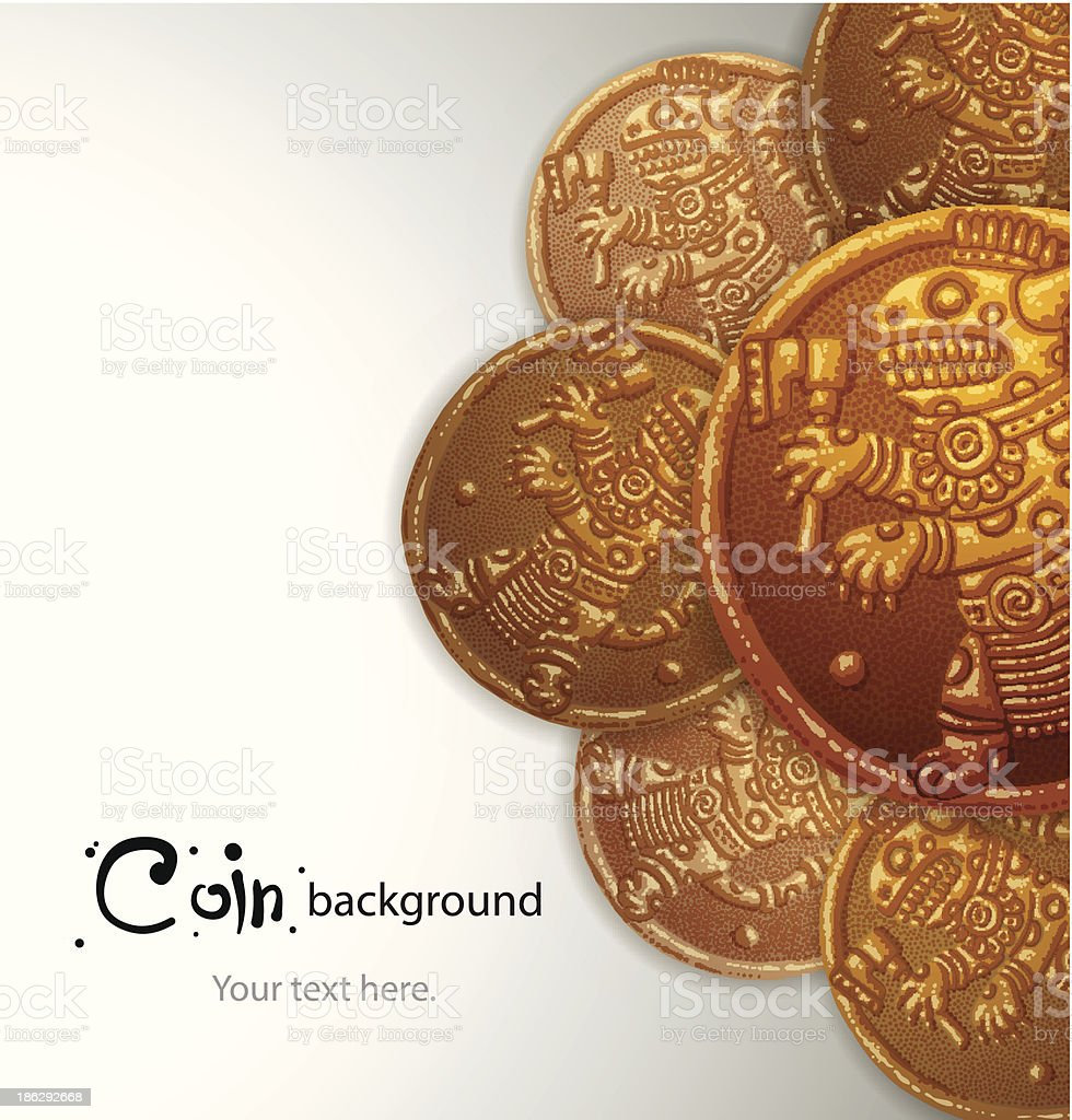 background of ancient gold coins with a jaguar royalty-free stock vector art