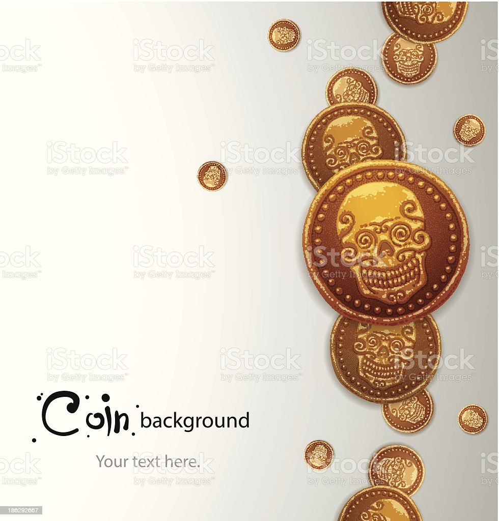 Background of ancient gold coins with a skull royalty-free stock vector art