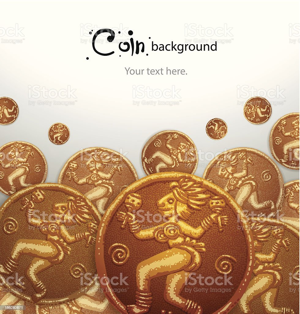 Background of ancient gold coins with a woman royalty-free stock vector art