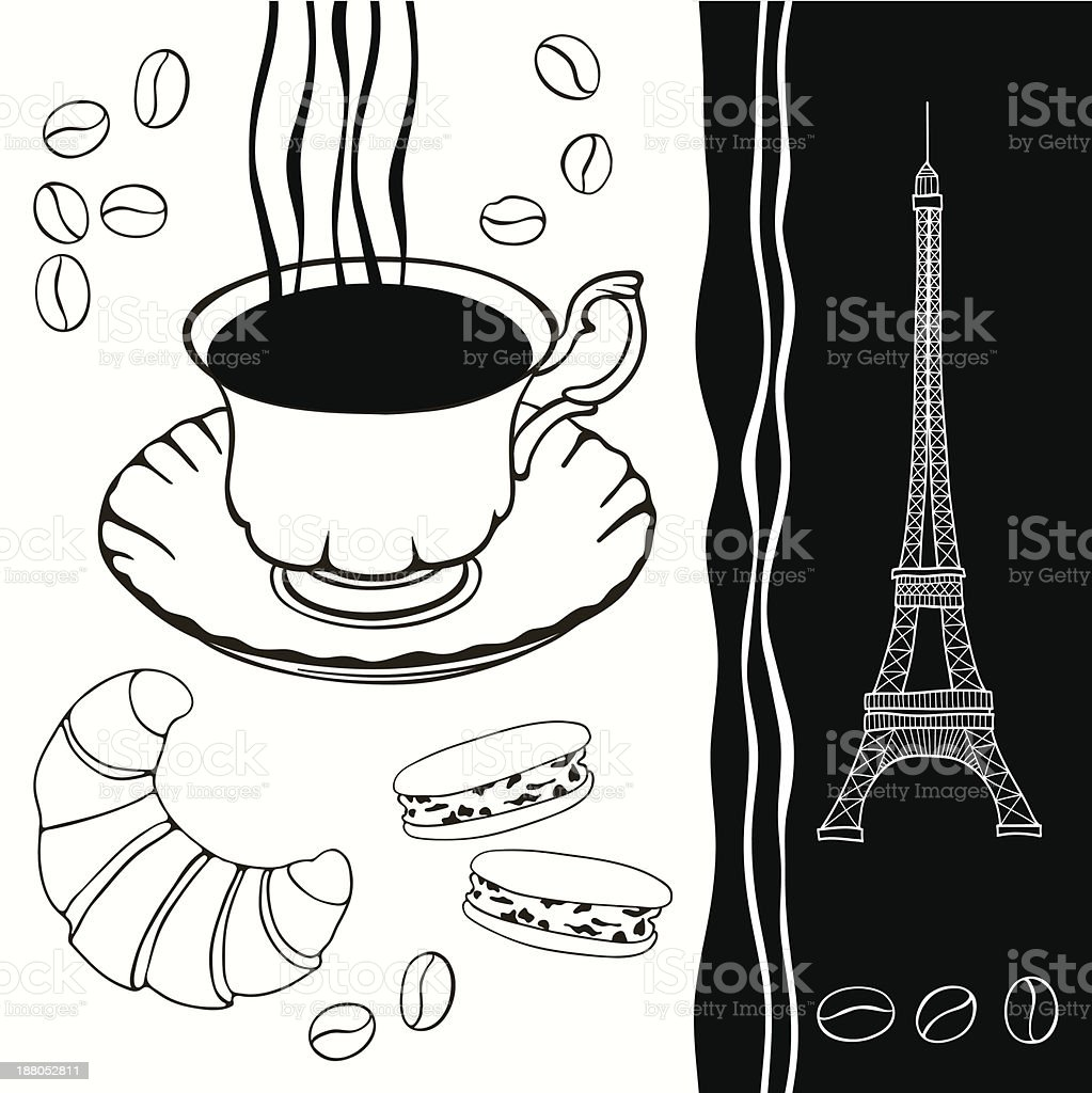 Background  of eiffel tower and traditional breakfast. royalty-free stock vector art