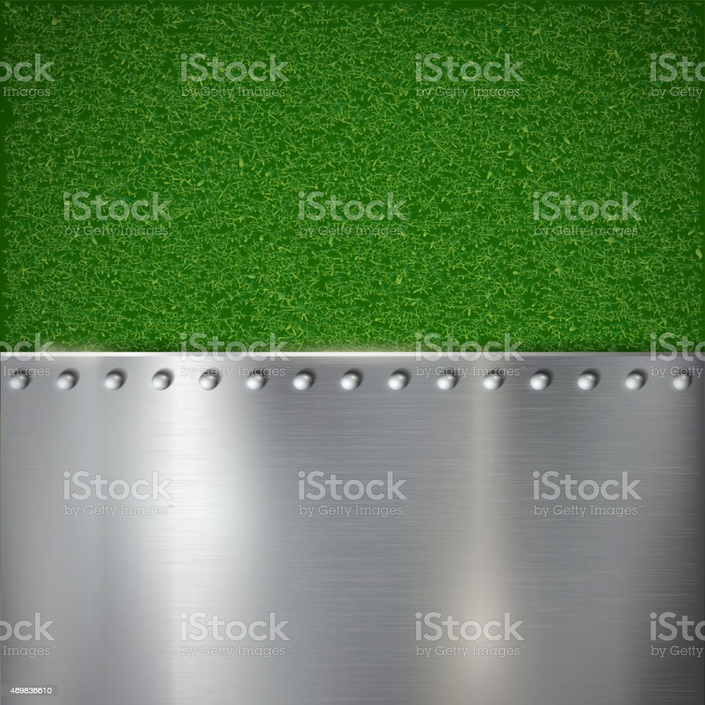 Background of grass and polished metal. vector art illustration