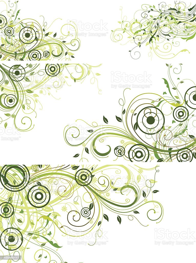 Background of green swirls and circles over white royalty-free stock vector art