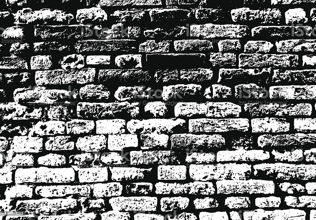 A background of grunge white and black brick wall vector art illustration