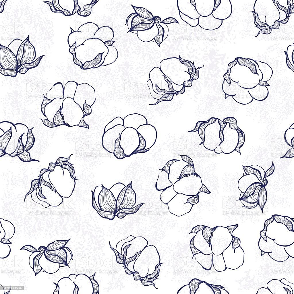 Background of ink drawn cotton vector art illustration