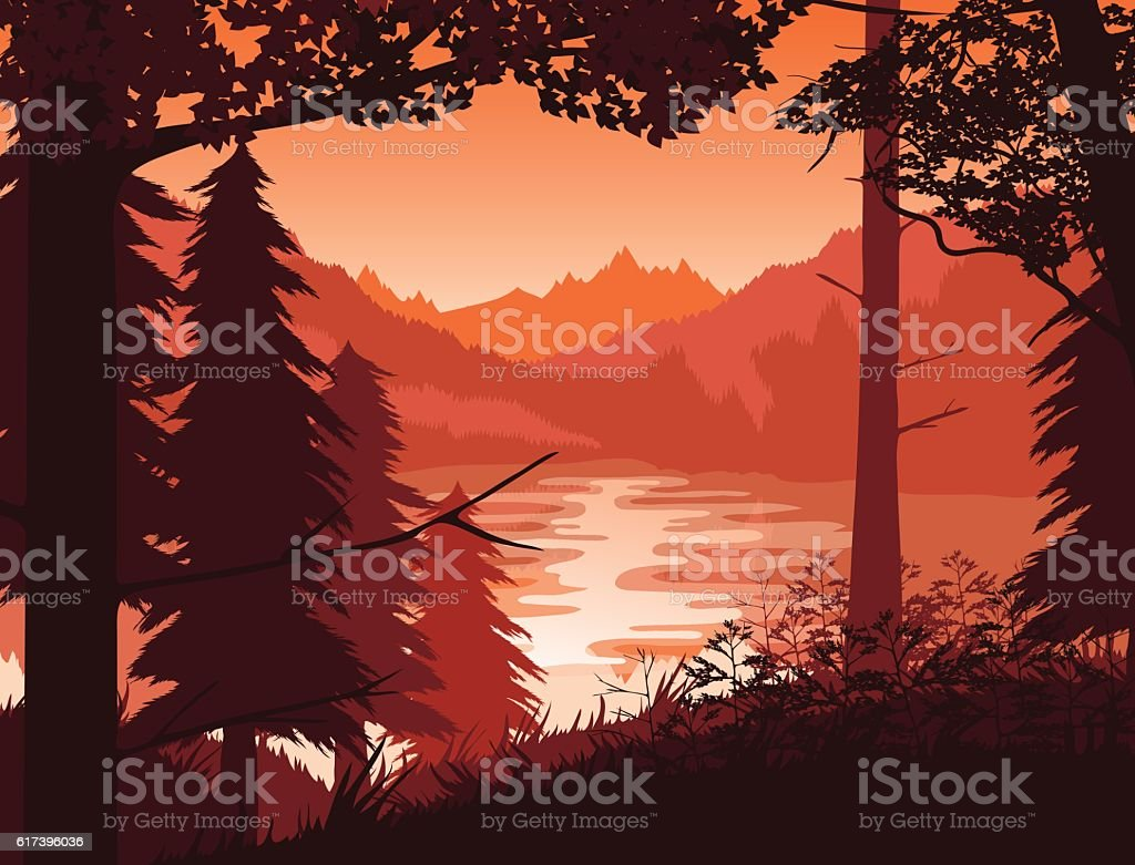 Background of landscape with river, forest and mountains. vector art illustration