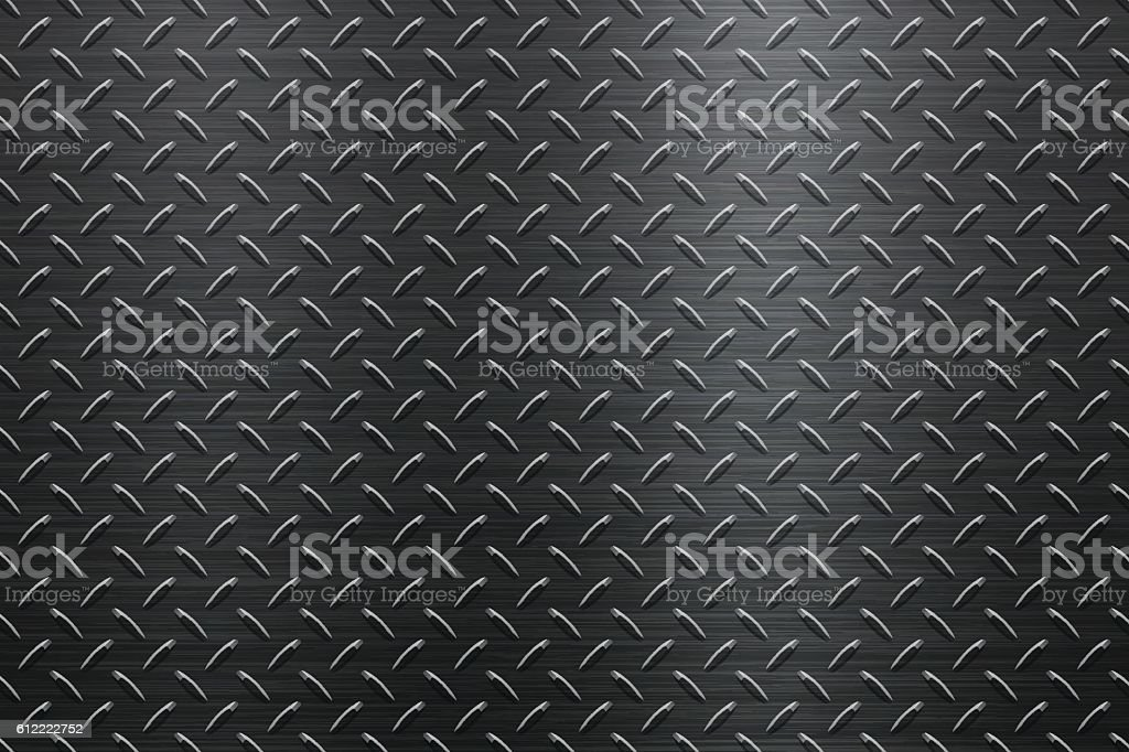 Background of Metal Diamond Plate in Black Color vector art illustration